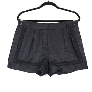 J. Crew | Black Linen Lace Trim Shorts 6